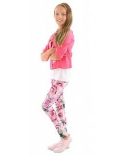 Wygodne legginsy z nadrukami 116-158 KRP367 kwiaty03