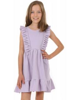 Bawełniana sukienka na ciepłe dni KRP386 liliowa