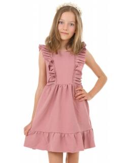 Bawełniana sukienka na ciepłe dni KRP386 brudny róż