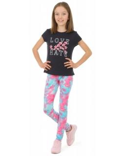 Kolorowe legginsy dziewczęce 116-158 KRP388 akwarela 02