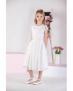 Dziewczęca sukienka z koronką 140-158 P-217B ecru