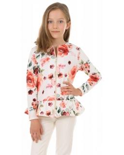 Bluza z baskinką 128-158 KRP390 Kwiaty