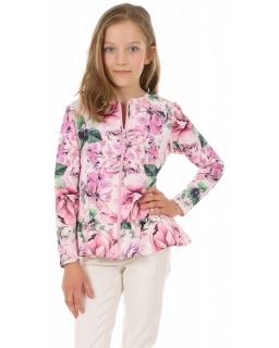 Bluza z baskinką 128-158 KRP390 Kwiaty 03