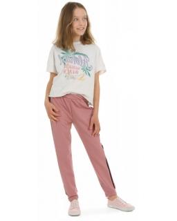 Spodnie dresowe z lampasem 116-158 KRP392 brudny róż