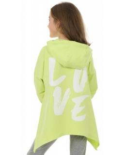 Bluza asymetryczna z kapturem 116-158 KRP393 Limonka
