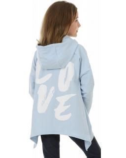 Bluza asymetryczna z kapturem 116-158 KRP393 Błękitna