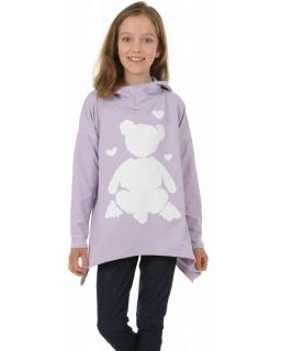 Bluza asymetryczna z kapturem 116-158 KRP394 Liliowa