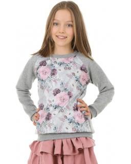 Szara bluza z nadrukiem 128-158 KRP395 Kwiaty