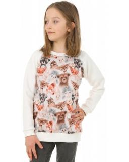 Jasna bluza z nadrukiem 128-158 KRP395 Zwierzaki