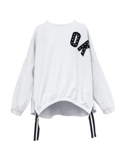 Modniarska luźna bluza OK 134-164 1S-135A biała