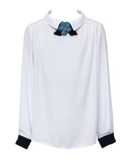 Elegancka szkolna bluzka z kwiatkiem 116-158 1S-114
