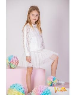 Dziewczęcy komplet bluza ze spódnicą 128-158 KPL VIW ecru