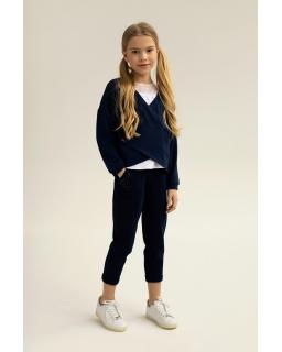Kopertowy sweter dla dziewczynki 128-164 1S-501 granatowy 1