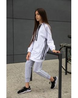 Modne spodnie wykonane z dzianiny 134-170 1S-407C szare 1