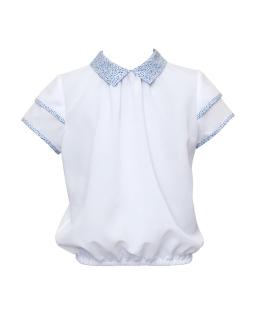 Biała bluzeczka z kolorowym kołnierzykiem 128-158 1S-104