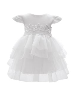 Piękna sukienka z tiulu 68-92 1/SMM/-04A biała 1