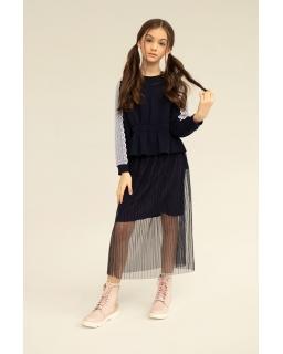 Długa plisowana spódnica z tiulu 134-164 1S-309B