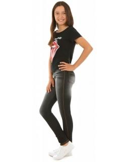 Elastyczne, wygodne spodnie dżins 116-158 KRP19 czarne