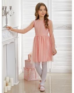Sukienka z kropkowanego tiulu 128-152 Defne morelowa