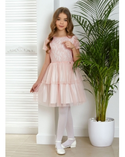 Sukienka koronkowo-tiulowa 128-158 Callie róż