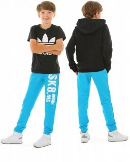 Wiosenne spodnie dresowe 116-158 KRP398 Turkus SK8ING