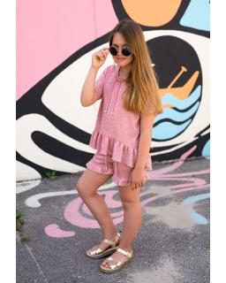 Dzianinowa bluzka dla dziewczynki 134-170 1SS-04A różowa