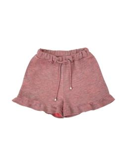 Dzianinowe szorty z falbankami 134-170 1SS-05A różowe