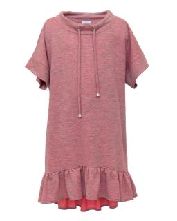 Wakcyjna sukienka z cienkiej dzianiny 134-170 1SS-06A róż