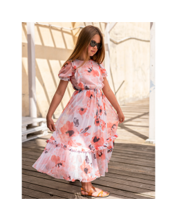 Długa letnia sukienka w kwiaty 134-170 1SS-02A