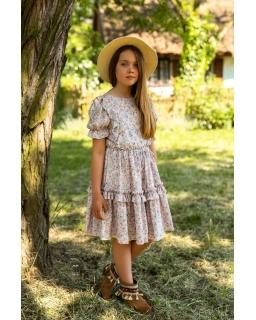 Dziewczęca sukienka boho w kwiatki 134-170 1SS-03
