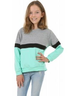 Sportowa bluza z lampasem 116-158 KRP400 mięta