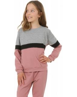 Sportowa bluza z lampasem 116-158 KRP400 róż