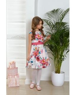 Elegancka satynowa sukienka w kwiaty 134-164 Adelaine