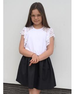 Galowa sukienka z białą górą 134-164 Iza czarny