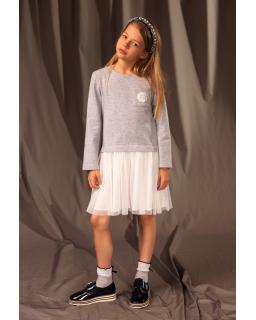 Sukienka z długim rękawem i tiulem 128-158 25A/J/19 szary