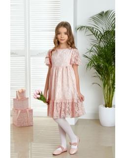 Elegancka koronkowa sukienka 128-158 Natalie róż