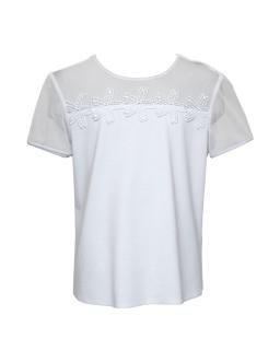 Biała bluzka z tiulowym karczkiem 122-158 1S-120