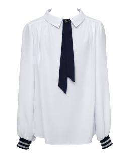 Biała koszula z modną krawatką i ściągaczem 134-170 1S-109
