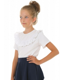 Biała bluzka z perełkami 116-158 KRP269 biała