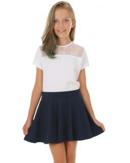 Szkolna bluzeczka z koronką 122-158 KRP406 biały