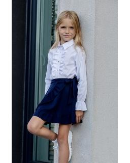 Dziewczęca bluzka z falbanką 128-158 B-84 biała