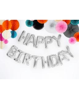 Balony urodzinowe Happy Birthday BAL107 srebro