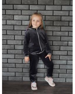Welurowy dresik dla najmłodszych 98-128 Suzi grafit