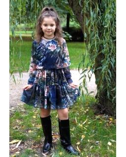 Szyfonowa sukienka z długim rękawkiem 134-164 Maja kwiaty 04