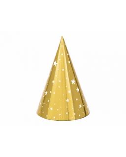 Czapeczki imprezowe złote gwiazdki zestaw 6 szt. CP03