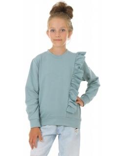 Bluza dla dziewczynki z falbanką KRP410 morski