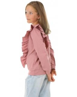 Bluza dla dziewczynki z falbanką KRP410 brudny róż
