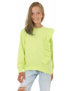 Bluza dla dziewczynki z falbanką KRP410 limonka