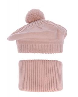 Komplet dla dziewczynki beret plus komin AG/4725 K26róż