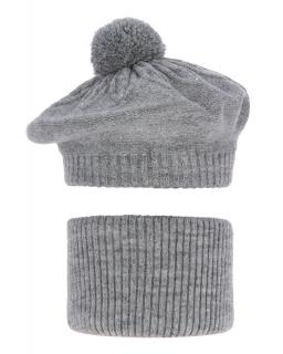 Komplet dla dziewczynki beret plus komin AG/4725 K26 szary